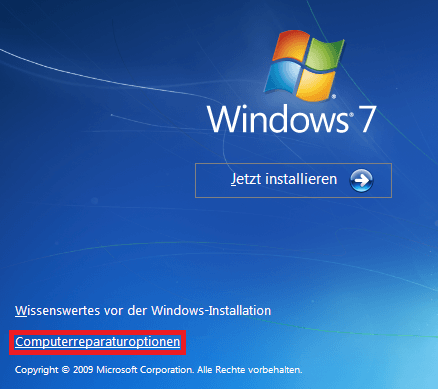 Computerreparaturoptionen von Windows